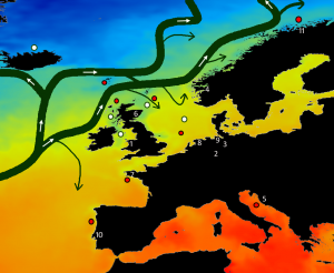 N Atlantic SST map hi-res with currents